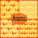 Seamless patterns set with red rooster on a yellow background. Design covers, package, wrapping paper Stock Images