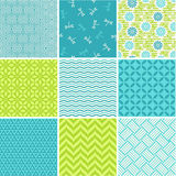 Seamless patterns set - simple summer Stock Photo
