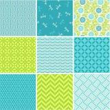 Seamless patterns set - simple summer Stock Photo
