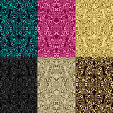 Seamless patterns - set of six colors. Is presented Stock Photos