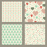 Seamless patterns set. Valentine's day Stock Photos