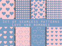 Seamless patterns. Set of Valentine's Day. Rose quartz and seren Royalty Free Stock Image