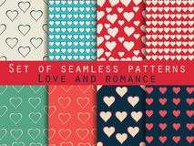 Seamless patterns. Set of Valentine`s Day. Vector. Illustration Stock Photos