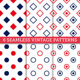 Seamless patterns set. Set of 6 Vintage vector seamless patterns. Endless texture can be used for wallpaper, pattern fills, web page background,surface textures Stock Images