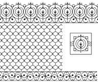 Seamless patterns set for wrought iron railing, grating, lattice Royalty Free Stock Image