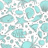 Seamless patterns with shell, starfish, fish, stone. Vector set for design in sea beach style. Blue exotic underwater. Seamless patterns with shell, starfish vector illustration