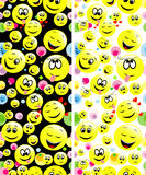 Seamless patterns of smiley faces expressing different feelings. Royalty Free Stock Image
