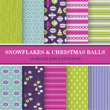 Seamless Patterns - Snowflakes and Christmas Balls. 10 Seamless Patterns - Snowflakes and Christmas Balls - Texture for wallpaper, background, scrapbook - in Royalty Free Stock Image