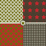 Seamless patterns with stars. In army style Stock Images