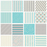 Seamless patterns with stripes, stars, bricks. Collection of 16 cute seamless patterns with stripes, stars, bricks. Geo seamless pattern with blue and grey Royalty Free Stock Photo