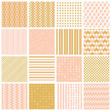 Seamless patterns with stripes, stars, bricks Stock Images