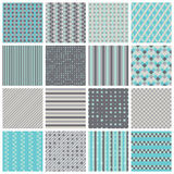 Seamless patterns with stripes, stars, bricks. Collection of 16 cute seamless patterns with stripes, stars, bricks. Geo seamless pattern with blue and grey Stock Image