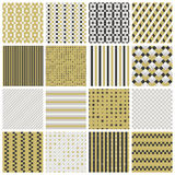 Seamless patterns with stripes, stars, bricks. Collection of 16 cute seamless patterns with stripes, stars, bricks. Geo seamless pattern with gold and grey Royalty Free Stock Photos