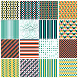 Seamless patterns with stripes, stars, bricks. Collection of 16 cute seamless patterns with stripes, stars, bricks. Geo seamless pattern with green, orange and royalty free illustration