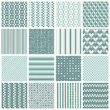 Seamless patterns with stripes, stars, bricks. Collection of 16 cute seamless patterns with stripes, stars, bricks. Geo seamless pattern with pastel blue and Stock Image