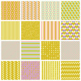 Seamless patterns with stripes, stars, bricks Royalty Free Stock Images