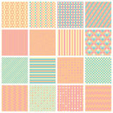 Seamless patterns with stripes, stars, bricks. Collection of 16 cute seamless patterns with stripes, stars, bricks. Geo seamless pattern with pastel pink and stock illustration