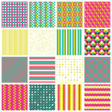 Seamless patterns with stripes, stars, bricks. Collection of 16 cute seamless patterns with stripes, stars, bricks. Geo seamless pattern with pink green and Stock Photo