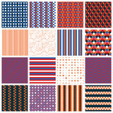 Seamless patterns with stripes, stars, bricks Stock Photo