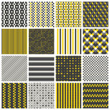 Seamless patterns with stripes, stars, bricks. Collection of 16 cute seamless patterns with stripes, stars, bricks. Geo seamless pattern with yellow and grey stock illustration
