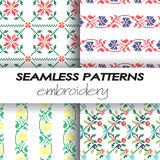 Seamless patterns in the style of hand embroidery Stock Photography