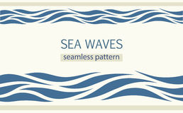 Seamless patterns with stylized sea waves Royalty Free Stock Image