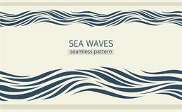 Seamless patterns with stylized waves Royalty Free Stock Photos