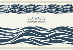 Seamless patterns with stylized waves Stock Photography