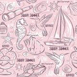 Seamless Patterns with  summer symbols, boat, sea horse, telesco Stock Image