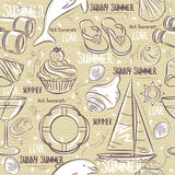 Seamless Patterns with  summer symbols, boat, shels,  dolphin Royalty Free Stock Image