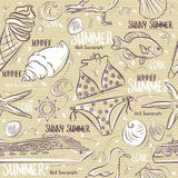 Seamless Patterns with  summer symbols, Ice cream, swimsuit, gul Royalty Free Stock Photos