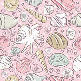 Seamless Patterns with  summer symbols, shellfish and clams  on Stock Photo