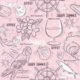 Seamless Patterns with  summer symbols,ship rudder,  parrot, coc Stock Image