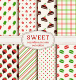 Seamless patterns with sweets. Vector set. Royalty Free Stock Images