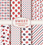 Seamless patterns with sweets. Vector set. Royalty Free Stock Photography