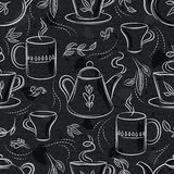 Seamless patterns with tea set, cup, teapot, leafs, flower and text on chalkboard.Background with coffee set. Ideal for printing. Seamless patterns with tea set vector illustration