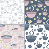 Seamless patterns with Thai massage, spa elements Stock Photos