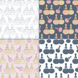 Seamless patterns with Thai massage, spa elements Royalty Free Stock Photo