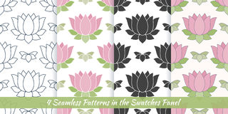 Seamless patterns with Thai massage, spa elements Royalty Free Stock Photos