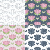 Seamless patterns with Thai massage, spa elements Royalty Free Stock Image