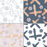 Seamless patterns with Thai massage, spa elements Stock Image