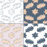 Seamless patterns with Thai massage, spa elements Royalty Free Stock Photography