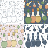 Seamless patterns with Thai massage, spa elements Royalty Free Stock Images