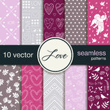 10 seamless  patterns. The theme of romance. Patterns for Valentine's Day. Wedding patterns. Stock Images