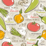 Seamless Patterns with tomato, onions,  pepper. Stock Images