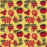 Seamless patterns in traditional russian style Hohloma Royalty Free Stock Images