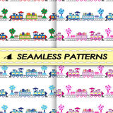 Seamless patterns with trains Royalty Free Stock Images