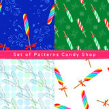 Seamless patterns with twist lollipop Stock Photography
