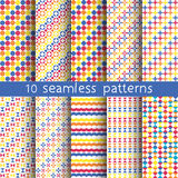 10 seamless patterns for universal background. Endless texture can be used for wallpaper, pattern fill, web page background. Vector illustration for web design Stock Photo