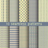 10 seamless patterns for universal background. Endless texture can be used for wallpaper, pattern fill, web page background. Vector illustration for web design Stock Images